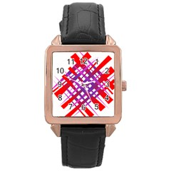 Chaos Bright Gradient Red Blue Rose Gold Leather Watch  by Nexatart