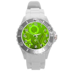 Art About Ball Abstract Colorful Round Plastic Sport Watch (l)