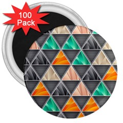 Abstract Geometric Triangle Shape 3  Magnets (100 Pack) by Nexatart