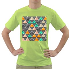 Abstract Geometric Triangle Shape Green T Shirt