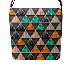 Abstract Geometric Triangle Shape Flap Messenger Bag (l)  by Nexatart