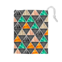 Abstract Geometric Triangle Shape Drawstring Pouches (large)  by Nexatart