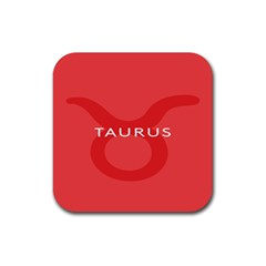 Zodizc Taurus Red Rubber Square Coaster (4 Pack)  by Mariart