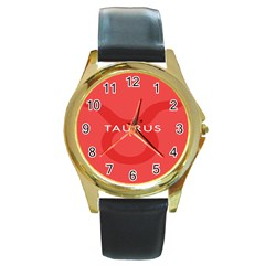 Zodizc Taurus Red Round Gold Metal Watch by Mariart
