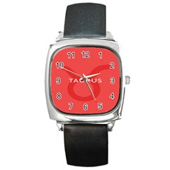 Zodizc Taurus Red Square Metal Watch by Mariart