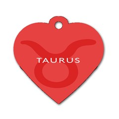 Zodizc Taurus Red Dog Tag Heart (one Side) by Mariart