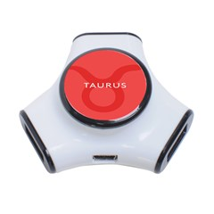 Zodizc Taurus Red 3 Port Usb Hub by Mariart