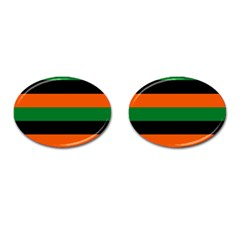 Color Green Orange Black Cufflinks (oval) by Mariart