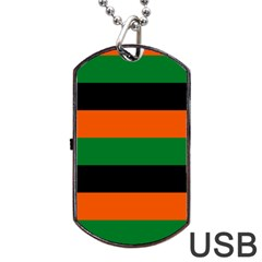 Color Green Orange Black Dog Tag Usb Flash (two Sides) by Mariart
