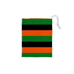Color Green Orange Black Drawstring Pouches (xs)  by Mariart