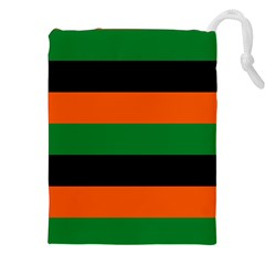 Color Green Orange Black Drawstring Pouches (xxl) by Mariart
