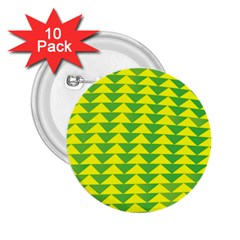 Arrow Triangle Green Yellow 2 25  Buttons (10 Pack)  by Mariart