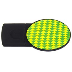 Arrow Triangle Green Yellow Usb Flash Drive Oval (4 Gb) by Mariart