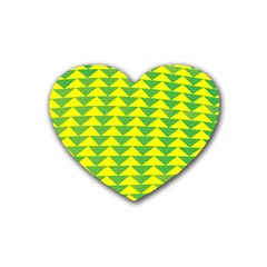 Arrow Triangle Green Yellow Heart Coaster (4 Pack)  by Mariart