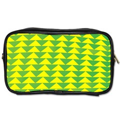 Arrow Triangle Green Yellow Toiletries Bags 2 Side by Mariart