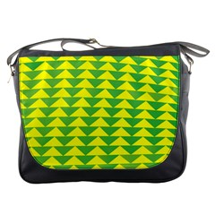 Arrow Triangle Green Yellow Messenger Bags by Mariart