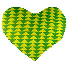 Arrow Triangle Green Yellow Large 19  Premium Flano Heart Shape Cushions by Mariart