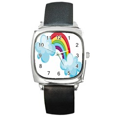 Could Rainbow Red Yellow Green Blue Purple Square Metal Watch by Mariart