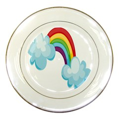 Could Rainbow Red Yellow Green Blue Purple Porcelain Plates by Mariart
