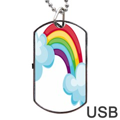 Could Rainbow Red Yellow Green Blue Purple Dog Tag Usb Flash (two Sides) by Mariart