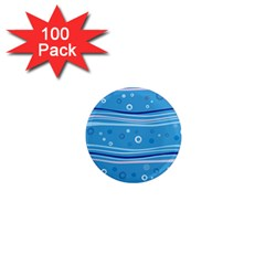 Blue Circle Line Waves 1  Mini Magnets (100 Pack)  by Mariart