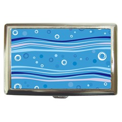 Blue Circle Line Waves Cigarette Money Cases by Mariart