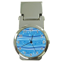 Blue Circle Line Waves Money Clip Watches by Mariart