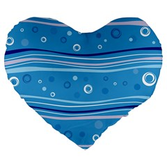Blue Circle Line Waves Large 19  Premium Heart Shape Cushions by Mariart