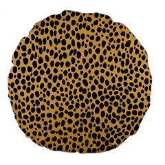 Cheetah Skin Spor Polka Dot Brown Black Dalmantion Large 18  Premium Flano Round Cushions by Mariart