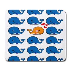 Fish Animals Whale Blue Orange Love Large Mousepads by Mariart