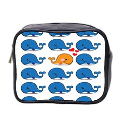 Fish Animals Whale Blue Orange Love Mini Toiletries Bag 2 Side by Mariart