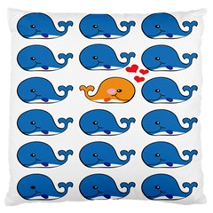 Fish Animals Whale Blue Orange Love Large Cushion Case (two Sides) by Mariart