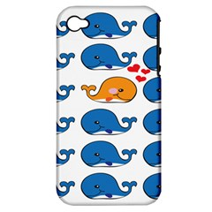Fish Animals Whale Blue Orange Love Apple Iphone 4/4s Hardshell Case (pc+silicone) by Mariart
