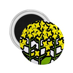 Flower Floral Sakura Yellow Green Leaf 2 25  Magnets by Mariart