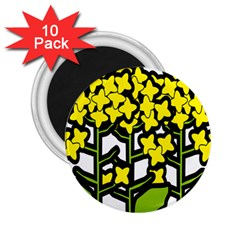 Flower Floral Sakura Yellow Green Leaf 2 25  Magnets (10 Pack)  by Mariart