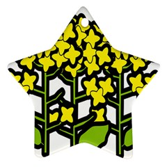 Flower Floral Sakura Yellow Green Leaf Star Ornament (two Sides) by Mariart