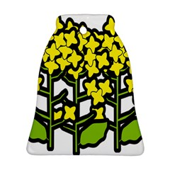 Flower Floral Sakura Yellow Green Leaf Bell Ornament (two Sides) by Mariart