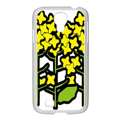 Flower Floral Sakura Yellow Green Leaf Samsung Galaxy S4 I9500/ I9505 Case (white) by Mariart