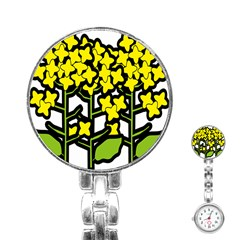Flower Floral Sakura Yellow Green Leaf Stainless Steel Nurses Watch by Mariart