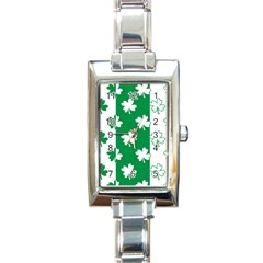 Flower Green Shamrock White Rectangle Italian Charm Watch by Mariart