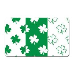 Flower Green Shamrock White Magnet (rectangular) by Mariart