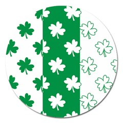 Flower Green Shamrock White Magnet 5  (round) by Mariart