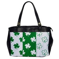 Flower Green Shamrock White Office Handbags by Mariart