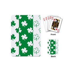 Flower Green Shamrock White Playing Cards (mini)  by Mariart