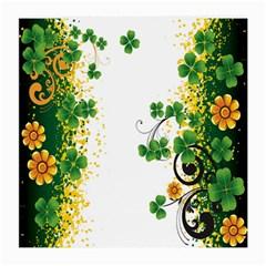 Flower Shamrock Green Gold Medium Glasses Cloth by Mariart