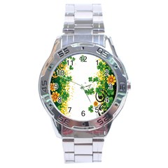 Flower Shamrock Green Gold Stainless Steel Analogue Watch by Mariart