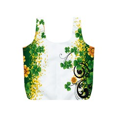 Flower Shamrock Green Gold Full Print Recycle Bags (s)  by Mariart