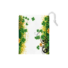 Flower Shamrock Green Gold Drawstring Pouches (small)  by Mariart