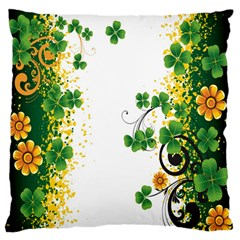 Flower Shamrock Green Gold Large Flano Cushion Case (one Side) by Mariart