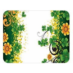 Flower Shamrock Green Gold Double Sided Flano Blanket (large)  by Mariart